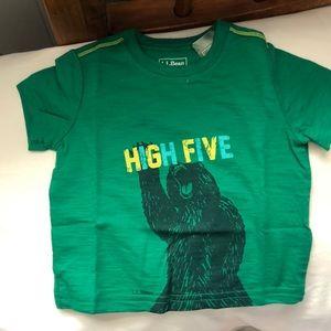 LL Bean T-shirt 6-12 months. Green with Bear